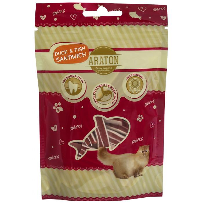 ARATON Лакомство для кошек, Бутерброды из утки и рыбы, 50г