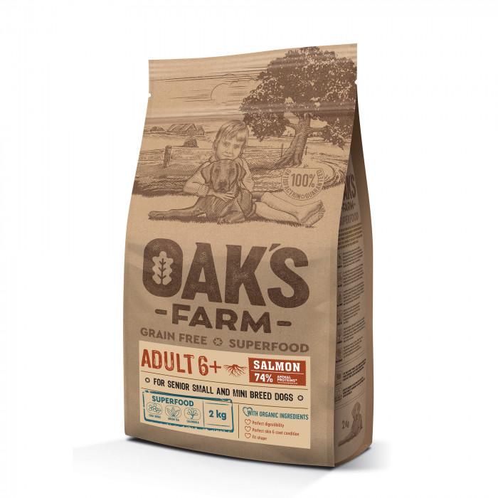 OAK'S FARM Grain Free Salmon Adult 6+ Small and Mini Breed Dogs,   kuivtoit väikeste ja minitõugude täiskasvanud koertele, lõhega