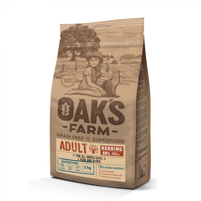 OAK'S FARM Grain Free Herring Adult Cat,  kuivtoit täiskasvanud kassidele, heeringaga