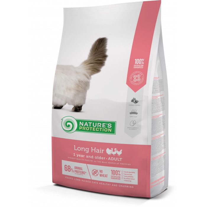NATURE'S PROTECTION Kuivtoit kassidele Long hair Adult 1 year and older Poultry