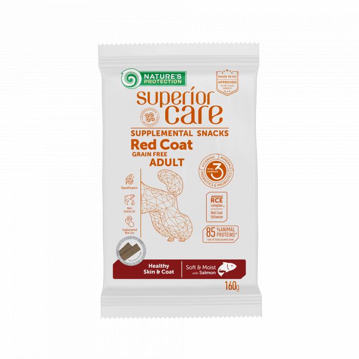 NATURE'S PROTECTION SUPERIOR CARE Red Coat Healthy Skin & Coat Grain free Salmon täiendav toit-maiused lõhega täiskasvanud koertele punase karvkattega