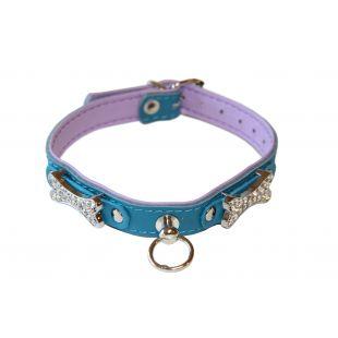 HIPPIE PET Кожаный ошейник для собаки с металлическими украшениями в виде косточек синий/бирюзовый цвет, 1.2x30 см