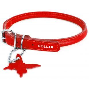 COLLAR Nahast ümmargune kaelarihm pikakarvalistele koertele punane, 0.8cm x 33-41cm