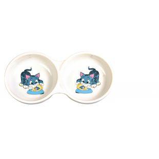 TRIXIE Двойная миска для кошек глиняная