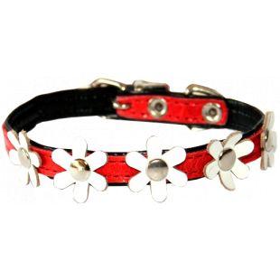 HIPPIE PET Ошейник для собаки с белыми цветами красный/чёрный, 1.2x30 см