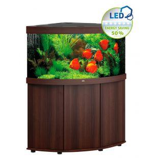 JUWEL LED Trigon 350 akvaarium, nurgeline tumedast puidust