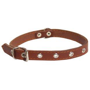 HIPPIE PET Кожаный ошейник с заклепками, для собак коричневый, 1.6x40 см