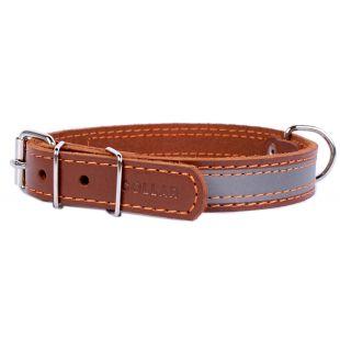 COLLAR кожаный светоотражающий ошейник коричневый, 2x32-40 см