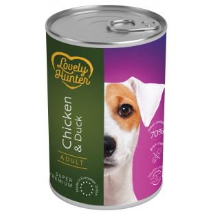LOVELY HUNTER Adult Chicken & Duck Konservid täiskasvanud koertele kana- ja pardilihaga 400 g