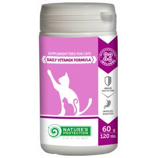 NATURE'S PROTECTION Daily Vitamin Formula добавка для кошек 120 таблетки, 60 г