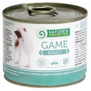 NATURE'S PROTECTION Dog Adult Game Konservid täiskasvanud koertele ulukilihaga 200 g x 6