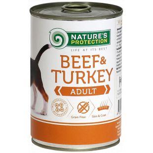 NATURE'S PROTECTION Adult Beef & Turkey Konservid täiskasvanud koertele 400 g x 6