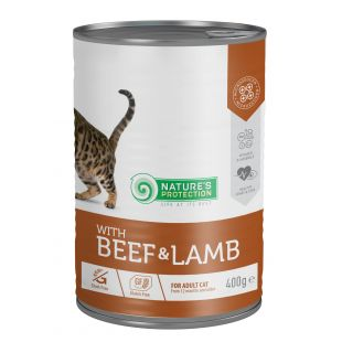 NATURE'S PROTECTION Cat Adult with Beef & Lamb kassikonservid 400 g x 6