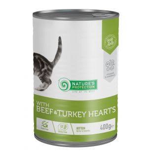 NATURE'S PROTECTION Kitten with Beef & Turkey Hearts консервы для котят 400 г x 6