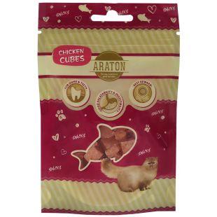 ARATON Лакомство для кошек, Кусочки сушеной курицы 50 г