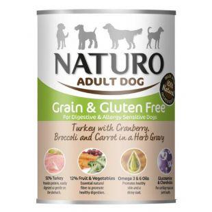 NATURO Grain Free koerakonservid kalkuniliha, jõhvikate, brokkoli ja porgandiga 390 g