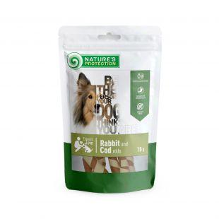 NATURE'S PROTECTION närimismaius koertele, küülikuliha ja tursarullid, 75 g