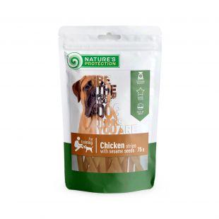 NATURE'S PROTECTION Лакомство для собак, сушеные куриные палочки с семенами 75 г 75 г