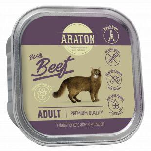 ARATON adult cat with beef, konservid konservid veiselihaga täiskasvanud kassidele 85 g