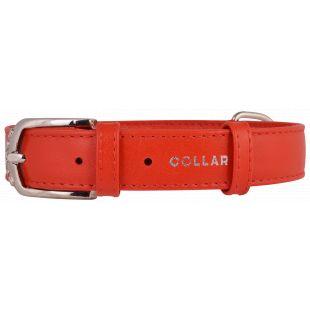 COLLAR Nahast kaelarihm GLAMOUR 3,5 cm x 46-60 cm, punast