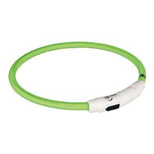 TRIXIE Helendav kaelarihm, laadimine USB kaudu L-XL: 65 x 0,7 cm, roheline