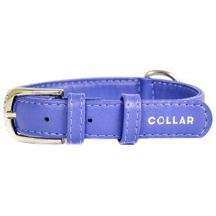 COLLAR Кожаный ошейник GLAMOUR синий 2,0 см x 30-39 см