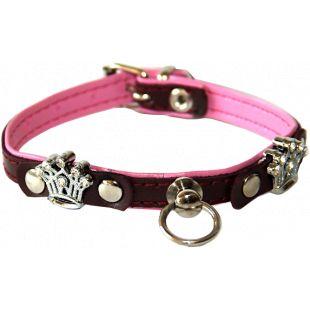 HIPPIE PET Кожаный ошейник для собаки с металлическими коронами 1.0x20 cм