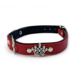 HIPPIE PET Koera kaelarihm metallist kroonidega punane/must, 1.2x30 cm