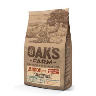 OAK'S FARM Grain Free Salmon with Krill Junior All Breed Dogs,  kuivtoit kõikide tõugude noortele koertele, lõhega 12 kg