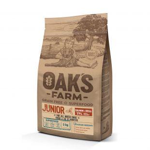 OAK'S FARM Grain Free Salmon with Krill Junior All Breed Dogs,  kuivtoit kõikide tõugude noortele koertele, lõhega 2 kg