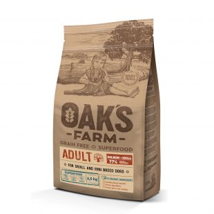 OAK'S FARM Grain Free Salmon with Krill Adult Small and Mini Breed Dogs,  kuivtoit väikeste ja minitõugude täiskasvanud koertele, lõhega 6,5 kg