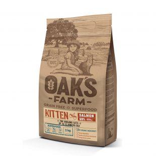 OAK'S FARM Grain Free Salmon Kitten ,  сухой корм для котят, с лососем 2 кг