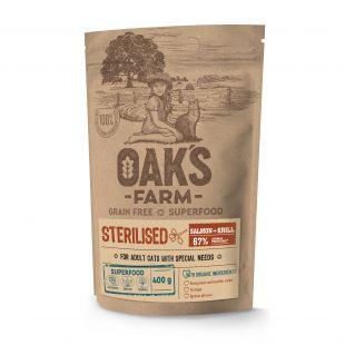 OAK'S FARM Grain Free Salmon with Krill Sterilised Adult Cat,   сухой корм для взрослых стерилизованных кошек, с лососем 400 г