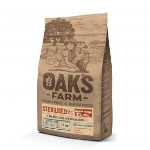 OAK'S FARM Grain Free Salmon with Krill Sterilised Adult Cat,   сухой корм для взрослых стерилизованных кошек, с лососем 2 кг