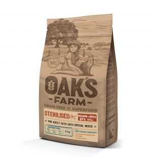 OAK'S FARM Grain Free Salmon with Krill Sterilised Adult Cat,  kuivtoit täiskasvanud steriliseeritud kassidele, lõhega 6 kg