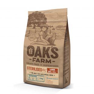 OAK'S FARM Grain Free Lamb Sterilised Adult Cat,   kuivtoit täiskasvanud steriliseeritud kassidele, lambalihaga 2 kg