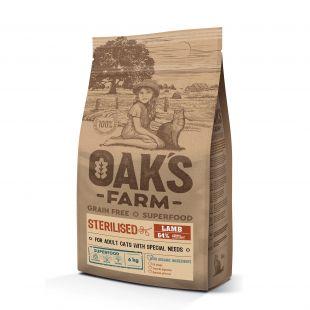 OAK'S FARM Grain Free Lamb Sterilised Adult Cat,   kuivtoit täiskasvanud steriliseeritud kassidele, lambalihaga 6 kg