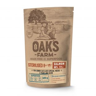 OAK'S FARM Grain Free Salmon Sterilised 8+ Cat, kuivtoit täiskasvanud steriliseeritud kassidele, lõhega 400 g