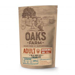 OAK'S FARM Grain Free Herring Adult Cat,  kuivtoit täiskasvanud kassidele, heeringaga 400 g