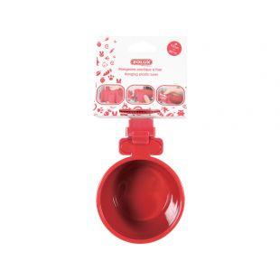 ZOLUX Puurile kinnitatud kauss loomadele plastik, 9,5 cm, punane