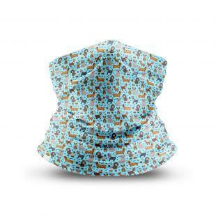 KIKA Püstkraega näomask Pruunid kutsikad, sinine, 1 tk.