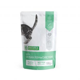 NATURE'S PROTECTION Kitten консервы для котят с океанской рыбой и курице пакетик 100 г