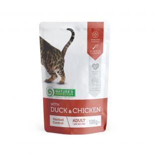 NATURE'S PROTECTION Hairball консервы для кошек с уткой и курице пакетик 100 г