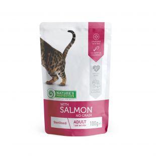 NATURE'S PROTECTION Sterilized консервы для кошек с лососем, пакетик 100 г