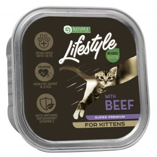 NATURE'S PROTECTION LIFESTYLE kitten, консервы с говядиной, для котят 85 g