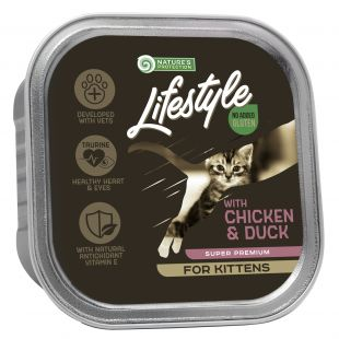 NATURE'S PROTECTION LIFESTYLE kitten, консервы с курицей и уткой, для котят, 85 g