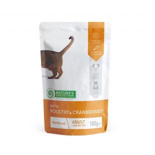 NATURE'S PROTECTION Sterilised Adult cat With poultry and cranberries, консервы для стерилизованных взрослых кошек с мясом домашней птицы и клюквой, в пакетике 100 ?