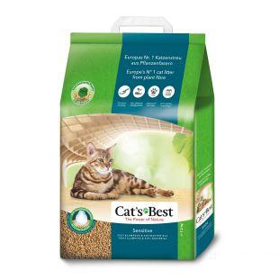 JRS Cats Best sensitive, натуральный комкующийся наполнитель для кошачьего туалета из древесных волокон 20 l