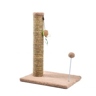 MADE4PETS Kraapimispost pom-pom mänguasjadega 30,5x40,5x54 cm, beež