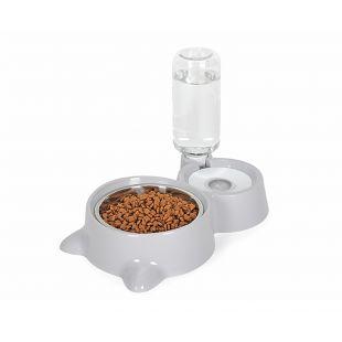 ELS PET поилка и миска для кошек, форма кошки 500 мл, серая
